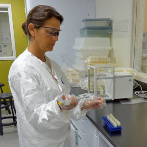Myra Finkelstein in the lab